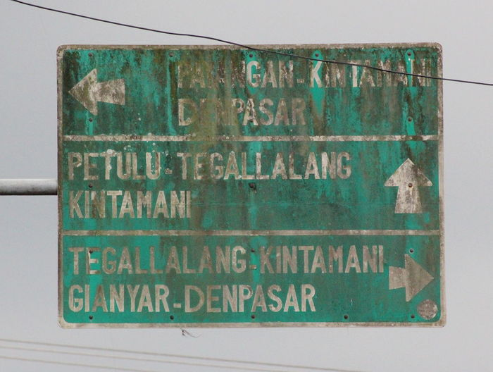 Deterioration Directional Sign Information Sign Old Roadsign Text Ubud Ubud Village Ubud, Bali