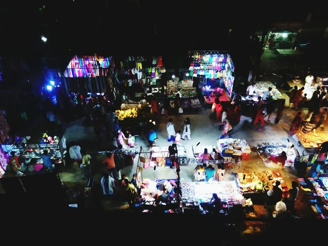 A Bird's Eye View A Sunday Evening Market From My Point Of View from Top Of The Building In Uttar Pradesh India Night Lights Nightphotography Without Flash Open Edit
