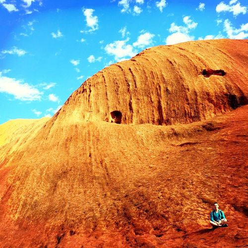Sky Blue Outdoors Day Nature Geology Rock Formation Remote Beauty In Nature Uluru Ayers Rock Mountain Travel The Magic Mission Aboriginal Land #wave Earth Sacred Sacred Places