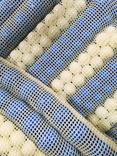 Full Frame Backgrounds Pattern No People Day Textured  Close-up Blue Diagonal Mesh Net Balls Floats