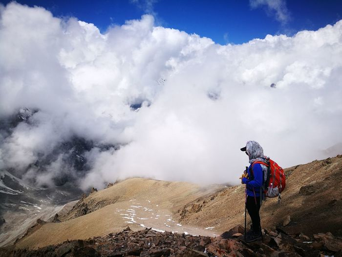 Mountains, clouds and women Activity Day Beauty In Nature Hikingadventures Alaarchanationalpark Clouds And Sky Mountains And Sky Mountains And Clouds EyeEm Selects Nature Activity Hiking Headwear Mountain Women Working Full Length Sky Landscape Cloud - Sky Hiker