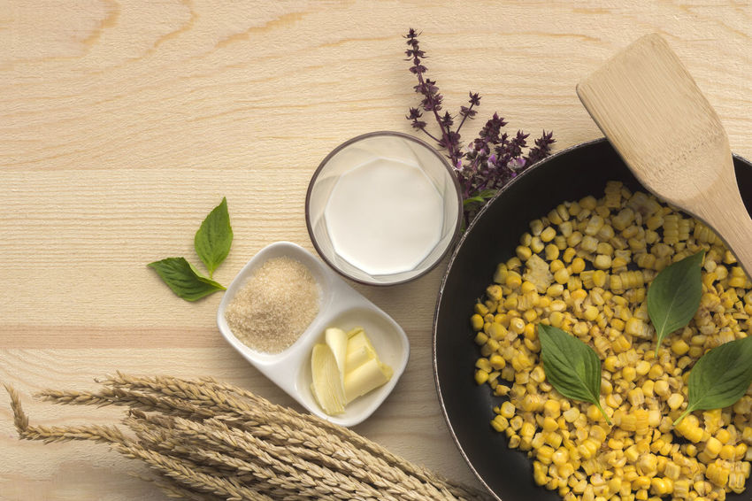 a meal eaten in the morning, the first of the day Bowl Close-up Cooked Corn Day Directly Above Food Food And Drink Freshness Healthy Eating High Angle View Indoors  Ingredient Look Delicious No People Preparation  Table Wooden Spoon