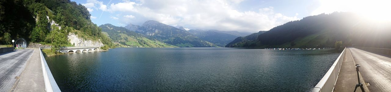 The lake Wäggitalersee Lake Innerthal Alps Swizterland Dam Water Mountain Sky Cloud - Sky Sunlight Nature Day Beauty In Nature Scenics - Nature Architecture Built Structure Mountain Range Panoramic Tranquility Plant No People Tranquil Scene Lake Outdoors Panoramic Nature Tranquility Hydroelectric Power River