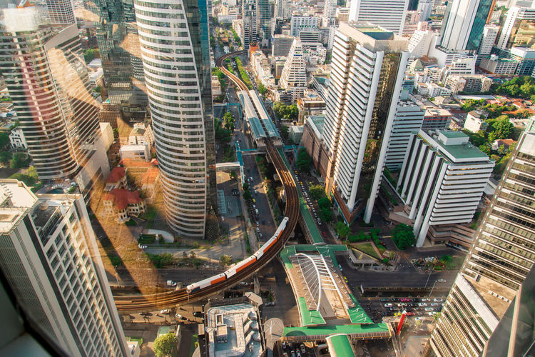 Built Structure Architecture Building Exterior City Cityscape Office Building Exterior Building Skyscraper High Angle View Modern Day Transportation Residential District Tall - High City Life No People Office Street Outdoors Nature Financial District  Skytrain BTS Skytrainbangkok Urban City