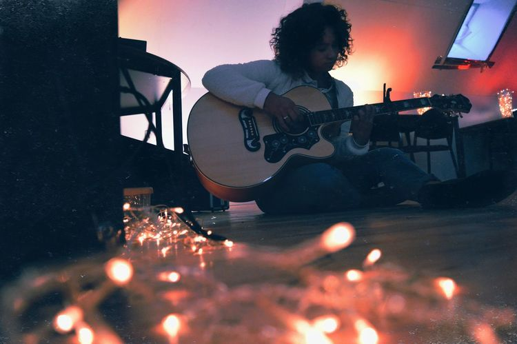 TakeoverMusic Music Young Adult Silhouette Guitar Indoors  Musician Lights Christmas Lights Girl Cosy Fresh On Eyeem