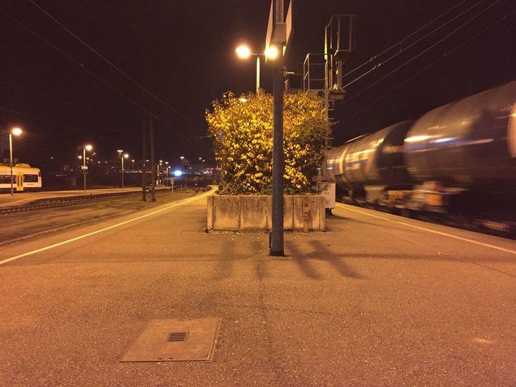 Offenburg Train Station Train Trainstation Night