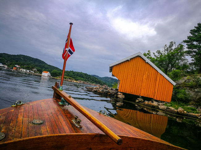 High Angle View Flag Nautical Vessel Tradition Landscape Ocean Boat Sea Horizon Over Water Lightroom Multi Colored Huawei P9 Leica HuaweiP9 Norway Huaweiphotography Beauty In Nature Nature No People Sky Outdoors Cloud - Sky Water