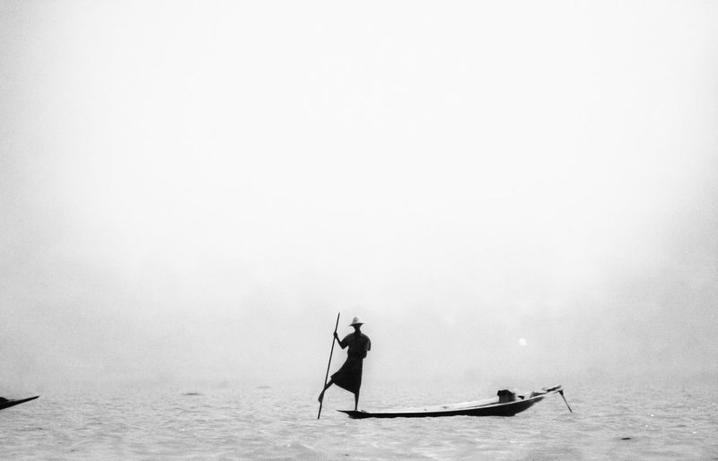 Inle Lake , Myanmar ASIA Blackandwhite Myanmar Inle Lake Boat Silhouette Outdoors Day One Person Nature