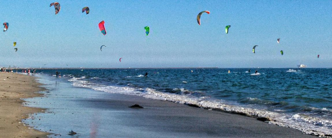 Kitesurfers Kitesurfing on a Kiteboard ! At Belmont Shore Long Beach California Friday Afternoon Sunny and Breezy Day Life Is A Beach Life Is Good
