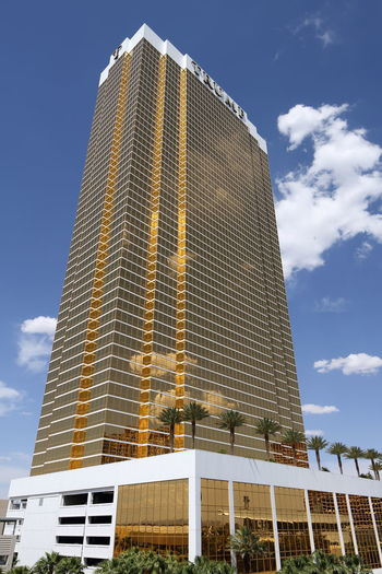 Trump International Hotel Las Vegas with a 24K gold gilded glass facade Las Vegas Las Vegas NV Trump Hotel USA Architecture Building Building Exterior Built Structure City Cloud - Sky Gilded Glass - Material Gold Colored Hotel Low Angle View Modern No People Office Building Exterior Resort Sky Skyscraper Sunlight Tall - High Tower Trump