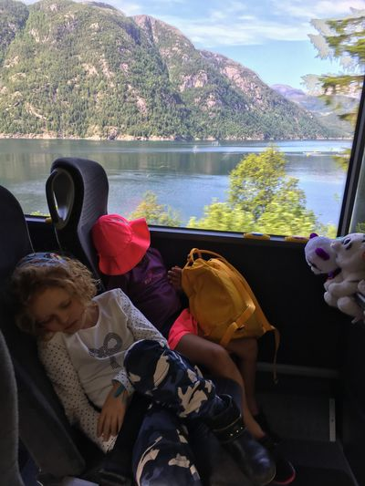 Real People Water Childhood Norway Sleeping Travel Traveling Children Tired Train Scenic Train Travel Girls Fjord