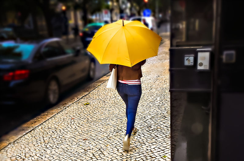 Rear view of woman with umbrella walking in rain