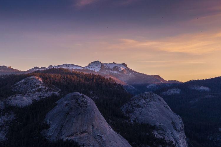 Sunrise over Yosemite Sunrise Tree Mountain Snow Cold Temperature Winter Forest Sky Landscape