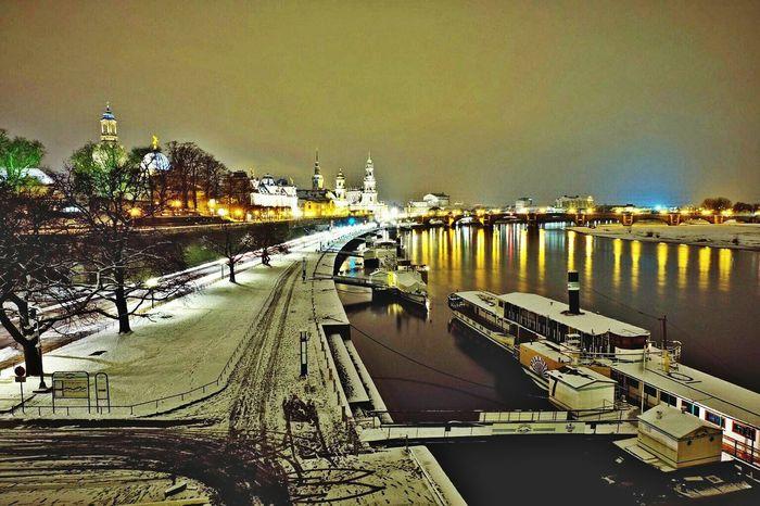 Winterdresdenland Dresden F22 Glowing City Street Elberiver Bridge Night No People Reflection Wintertime