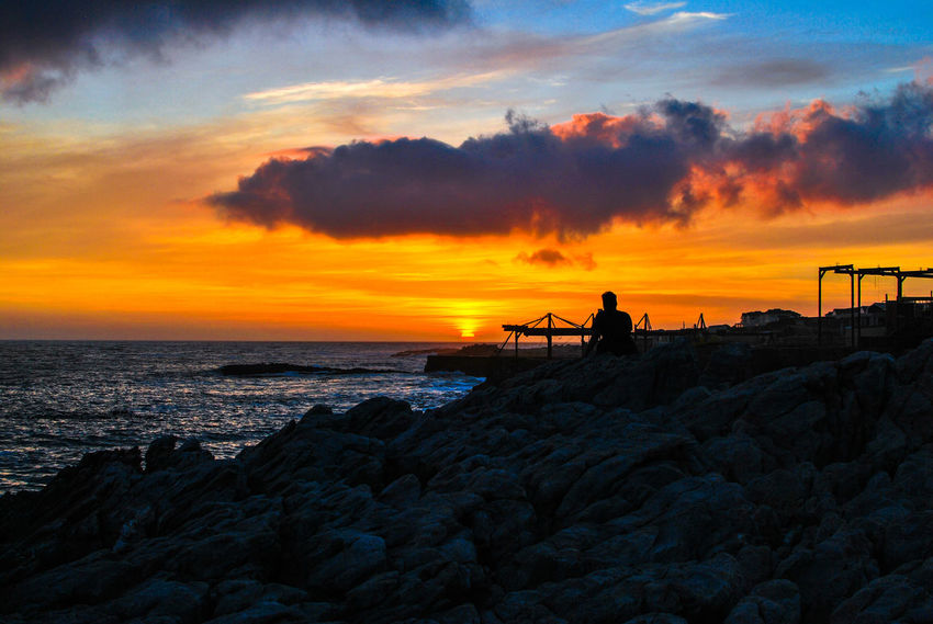 Beach Beauty In Nature Cloud - Sky Day Fishing Fishing Pole Full Length Horizon Over Water Men Nature One Person Outdoors People Real People Rock - Object Scenics Sea Silhouette Sky Standing Sunset Tranquil Scene Tranquility Water EyeEm Ready
