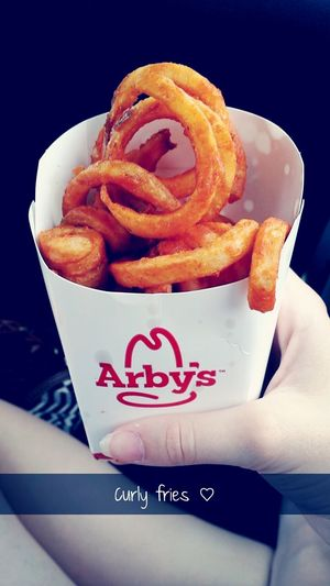 Curly fries!! add me on snapchat: ivyfoxx Snapchat Arby's Food Yummy