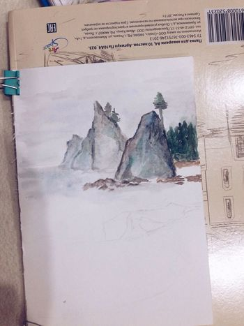 Watercolor Art ArtWork Mountains Edge Of The World Inspired The Calmness Within