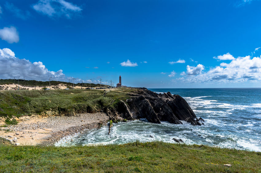 São Pedro de Moel Beach Beauty In Nature Blue Cloud - Sky Day Guidance Horizon Horizon Over Water Land Lighthouse Motion Nature No People Outdoors Rock Scenics - Nature Sea Sky Solid Tower Water Wave