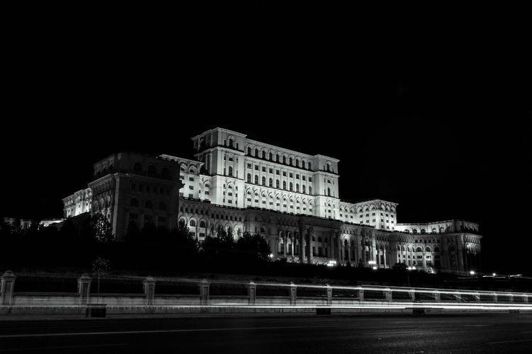 Palace of the Parliament at Romania. Bucharest Nightphotography Parliament Building Romania Architecture Blackandwhite Building Building Exterior Casa Poporului City Illuminated Light Trail Long Exposure Motion Night Palatul Parlamentului EyeEmNewHere