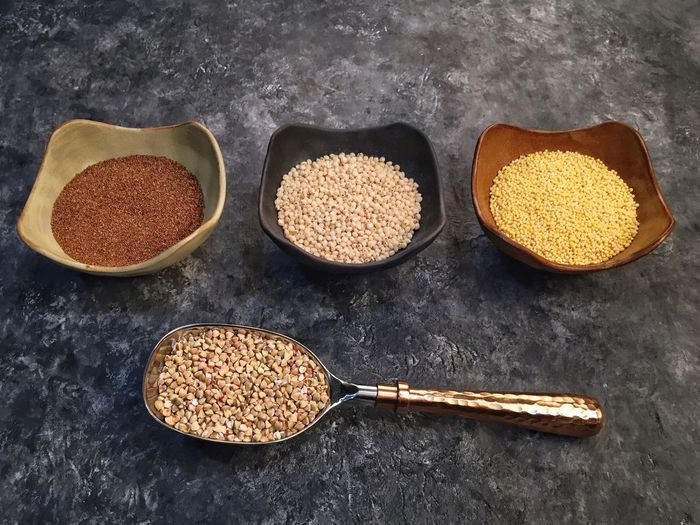 Ancient grains--made the sorghum with some vegetable stock. Added onion, garlic, mushrooms, roasted asparagus, olive oil and thyme. Yum. Food Variation Spoon Ingredient Healthy Eating Close-up No People Seed Sorghum Millet Buckwheat Ancient Grains Teff Still Life