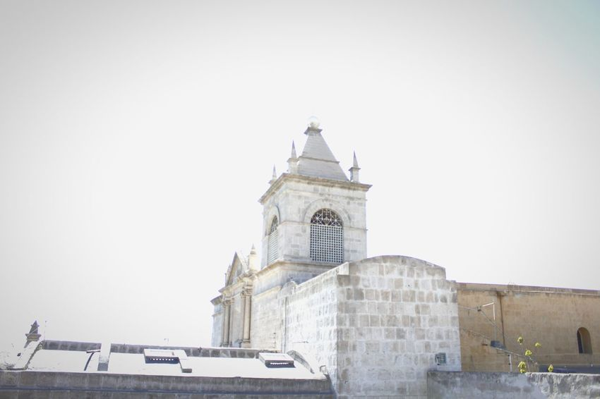 Architecture Tower Religion Clock Tower Building Exterior Built Structure Day Outdoors No People Roof Clock Sky City Arequipa - Peru Arts Culture And Entertainment