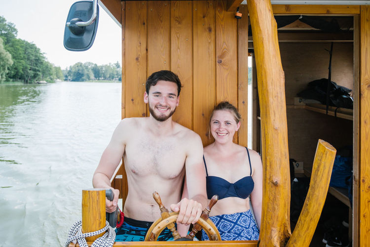 Hausboottour in Lindow / Brandenburg Friends The Great Outdoors - 2018 EyeEm Awards The Portraitist - 2018 EyeEm Awards The Traveler - 2018 EyeEm Awards Youth Adult Boat Couple - Relationship Emotion Friendship Front View Happiness Hausboot Leisure Activity Looking At Camera Males  Mature Men Men Outdoor Portrait Real People Shirtless Sitting Smiling Togetherness Two People Water Young Adult Young Men