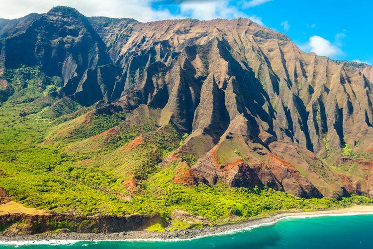 United states hawaii kauau island napali coast volcanic mountain