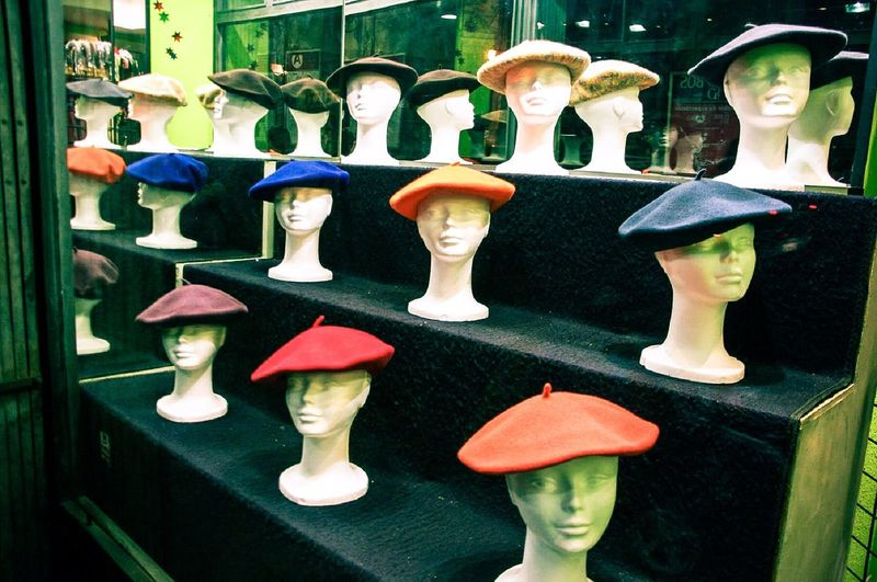 Bilbokoak, 2009 Human Representation Mannequin Store Retail  Art And Craft Retail Display Fashion For Sale No People Clothing Store Store Window Sculpture Statue Doll Variation Day Indoors  Txapela Streetphotography Shop Window Shop Window Dummy Colourful Hats Traditional Hat Bilbao Basque Country