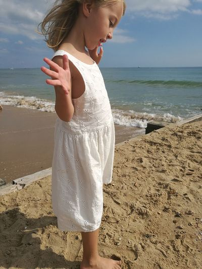 Beach Standing Sea Casual Clothing Sunlight Sand Shore Bournemouth White Dress