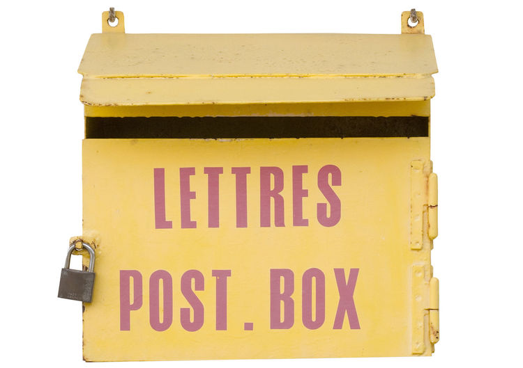 ancient mailbox in france - with a padlock Connection Data France French French Language Isolated Isolated On White Letter Lettres Mail Mailbox Old Padlock Post Postal Postbox Postcard Secret Security Service Single Object Text Vintage White Background Yellow