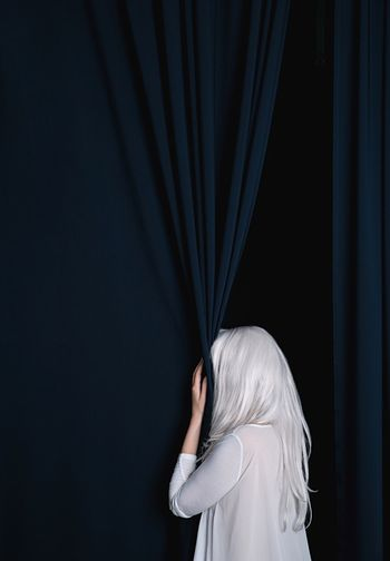 Women Women Portraits White Hair No Face Dark Blue Curtains