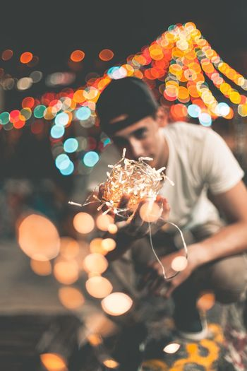Night Illuminated One Person Young Adult Indoors  Celebration Real People Christmas Lights Young Women Lifestyles One Young Woman Only Tree One Woman Only Adult People