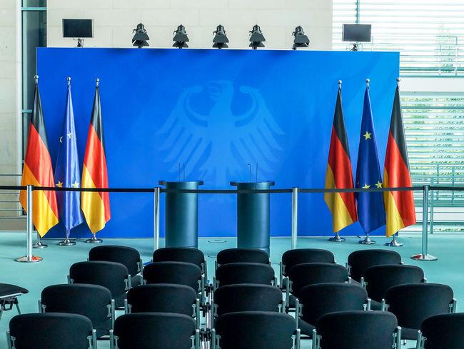 Architecture Blue Bundeskanzleramt Bundesregierung Chancellery Chancellor Conference Eagle Flags Gemany  German Germany Government Government Building Inside Kanzleramt Konferenz Multi Colored Press Presse Room Seating