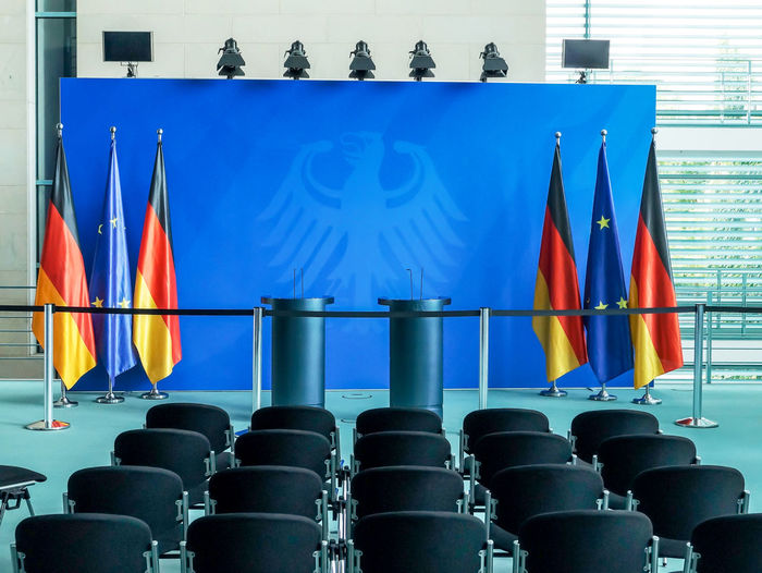 Architecture Blue Bundeskanzleramt Bundesregierung Chancellery Chancellor Conference Eagle Flags Gemany  German Germany Government Government Building Inside Kanzleramt Konferenz Multi Colored Press Presse Room Seating