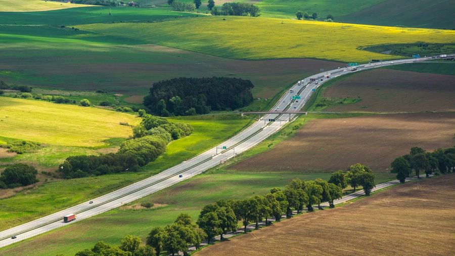 Geometric Shape Geometry Lines Fieldscape Aerial View Landscape Road High Angle View Aerial Shot From Above  Lines And Shapes Speedway Autobahn Geometry In Nature From My Point Of View Agriculture Infrastructure