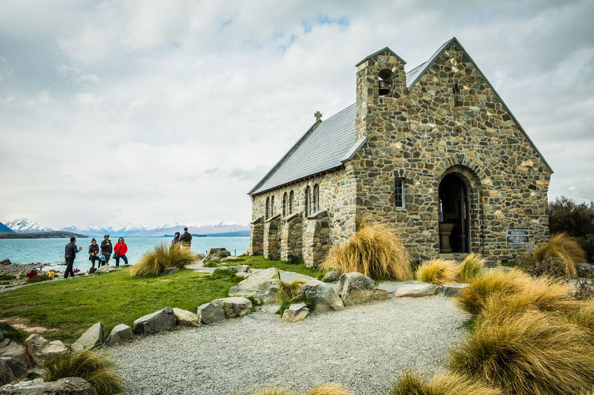 Church of the Good Shepherd, Lake Tekapo Architecture Building Exterior Built Structure Cloud - Sky Day Grass Lake Lakeside Landscape Landscape With People In Nature Outdoors Sea Sky Water