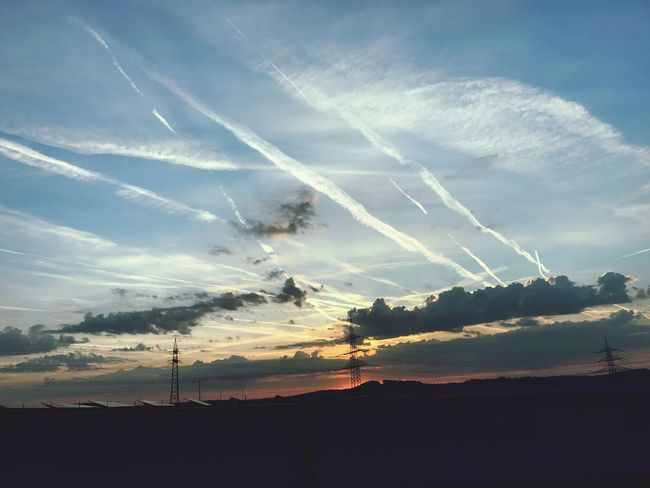 Sky Sunset Nature Silhouette Beauty In Nature Scenics No People Cloud - Sky Vapor Trail Landscape Tranquil Scene Transportation Flight Plane Contrail Contrails Tranquility Contrail Electricity  Outdoors Day EyeEmNewHere Let's Go. Together. Sommergefühle EyeEm Selects Your Ticket To Europe