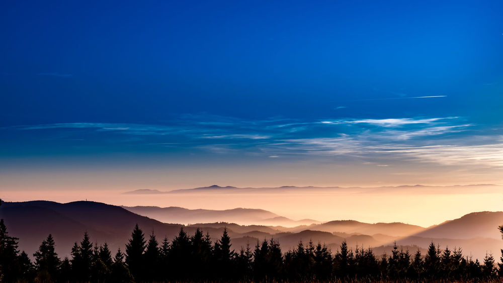Astronomy Beauty In Nature Blackforest Blue Cloud - Sky Dramatic Sky Forest Landscape Mountain Mountain Range Nature No People Outdoors Scenics Schwarzwald Sky Sunset Travel Destinations Betterlandscapes Lost In The Landscape