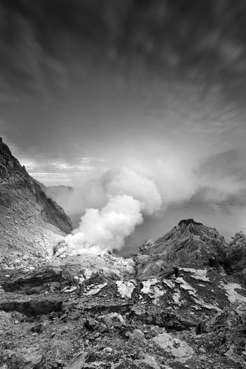 Black and White picture of view the tropical forest with path to the volcano Kawah Ijen, East Java, Indoneisa INDONESIA Beauty In Nature Black And White Cloud - Sky Environment Formation Geology Kawah Ijen Land Landscape Mountain Mountain Peak Nature Non-urban Scene Outdoors Physical Geography Power In Nature Rock Scenics - Nature Sky Smoke - Physical Structure Tranquil Scene Tranquility Volcanic Crater Volcano