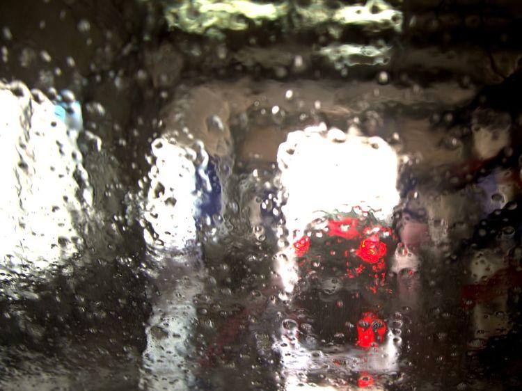 Car Wash Car Carwashing No People Red Transparent Water Wet Window