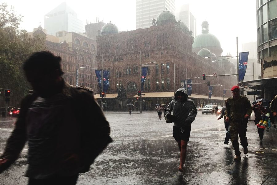 Escaping a flash storm, George St, Sydney. Streetphotography Rain Open Edit IPhoneography
