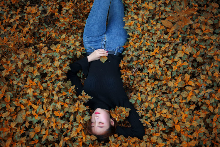 High angle view of woman lying on plants during autumn