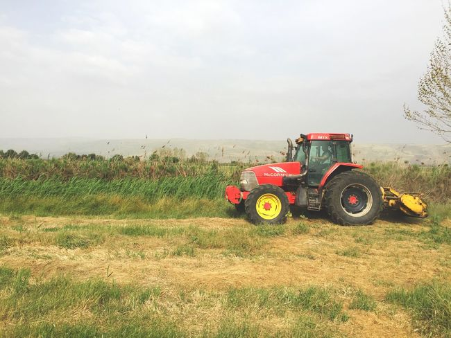 Lost In The Landscape Tractor Field Agricultural Machinery Agriculture Grass Outdoors Nature Landscape Beauty In Nature Combine Harvester
