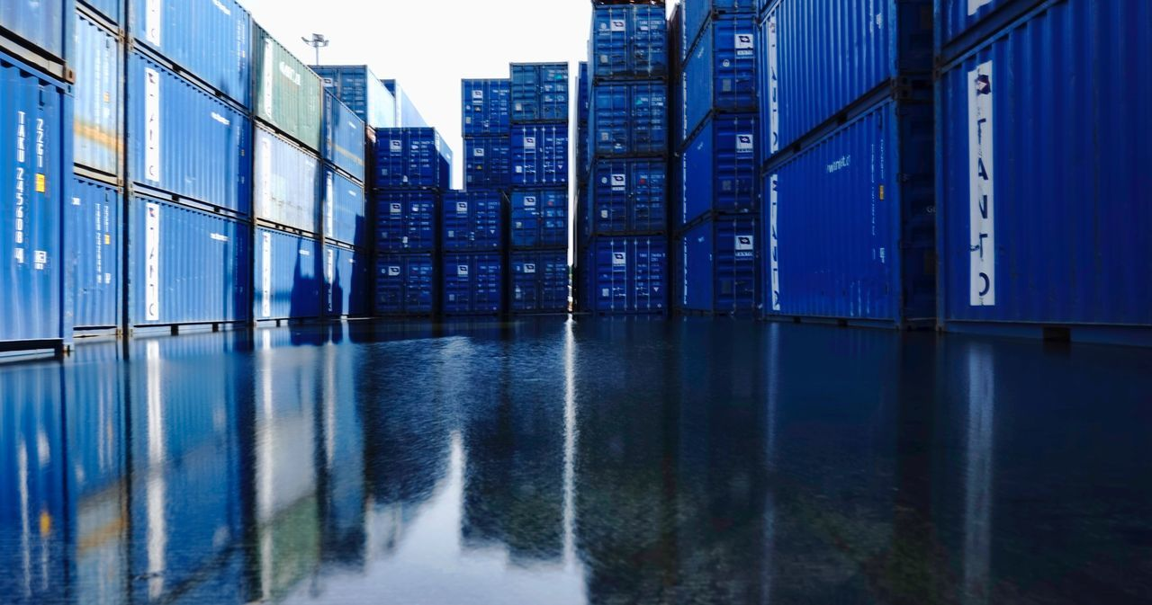 Containers Flooded Jakarta Tanjungpriok Tanjung Priok Forwarder Freight Shipping  Containers Architecture Built Structure Outdoors Water River Building Exterior Sky No People City