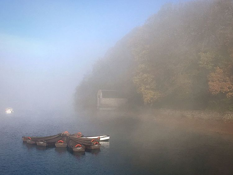Water Outdoors Nautical Vessel Beauty In Nature No People Sky Fog Idyllic Autumn Beauty In Nature Mist Boats