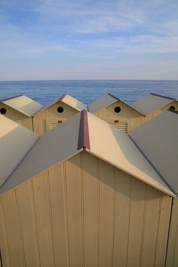 Wooden beach huts at seaside