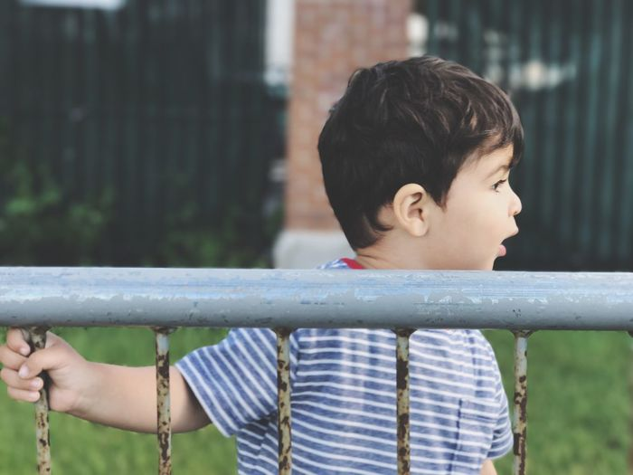Close-up of boy outdoors