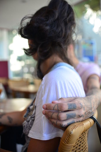 EyeEm Best Shots Eye4photography  Getting Inspired Tattoos Love Style Focus On Foreground Real People Adult Lifestyles Women People Two People Hairstyle Black Hair Human Hand Hair Hand Day