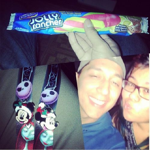 """What she always says to me """"its the thought that counts"""" and she doesn't lie cuz she knows me too well with the 2 little gifts she gave me and the best gift of all is having her in my life :) Jollyranchers Icecream Christmasmickeyandminniepins Mysally myeverything @peaceloveramos"""