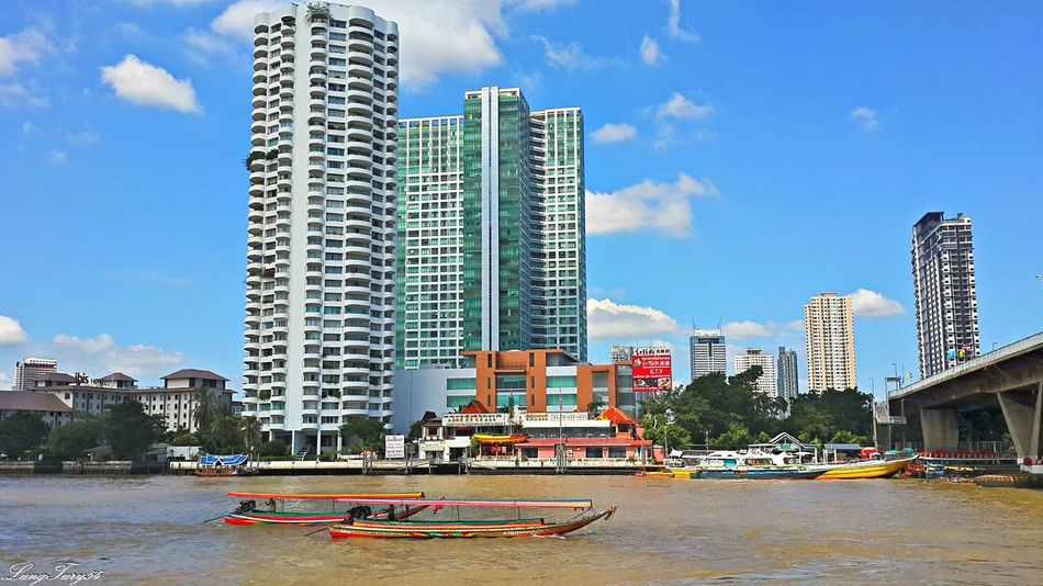 mae nam chao phraya bangkok Architecture Bangkok Building Exterior Built Structure City Mae Nam Chao Phraya Bangkok Mode Of Transport Modern Skyscraper Taksin Bridge Tall - High Thailand Tower Transportation